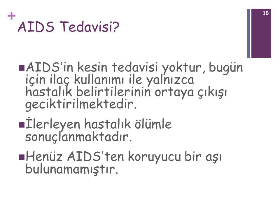 AIDS Tedavisi AIDS'in kesin tedavisi yoktur, bugün için ilaç kullanımı ile yalnızca hastalık belirtilerinin ortaya çıkışı geciktirilmektedir.