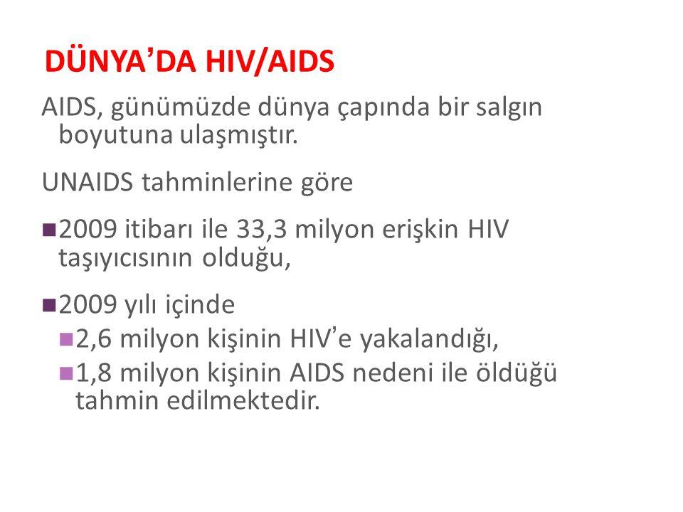 DÜNYA'DA HIV/AIDS AIDS, günümüzde dünya çapında bir salgın boyutuna ulaşmıştır. UNAIDS tahminlerine göre.