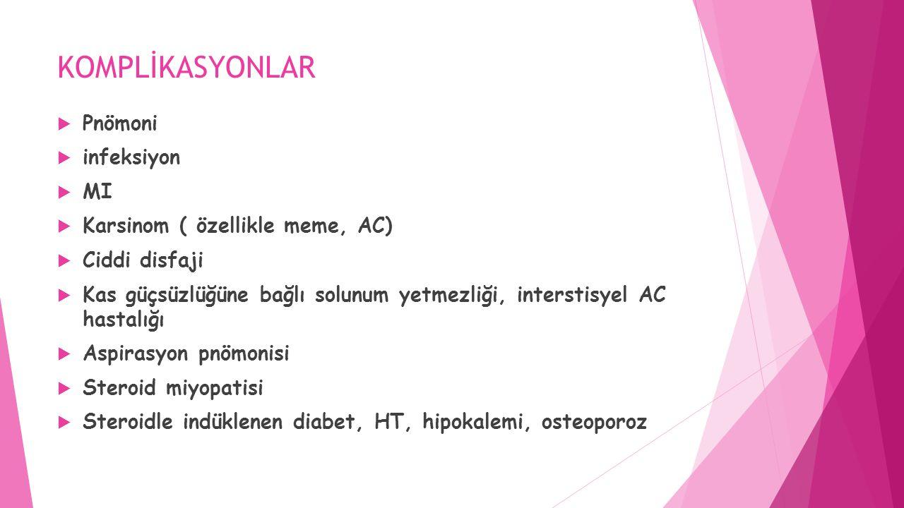 KOMPLİKASYONLAR Pnömoni infeksiyon MI Karsinom ( özellikle meme, AC)