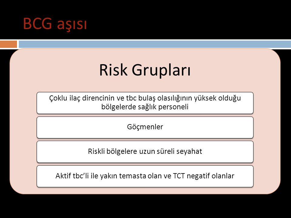 BCG aşısı Risk Grupları