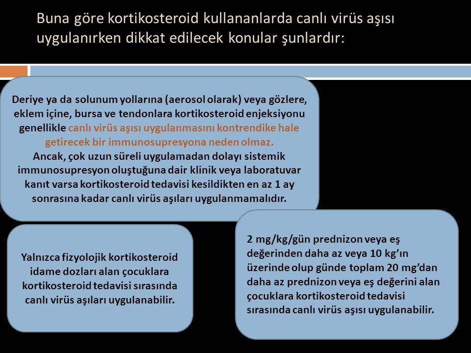 Buna göre kortikosteroid kullananlarda canlı virüs aşısı uygulanırken dikkat edilecek konular şunlardır: