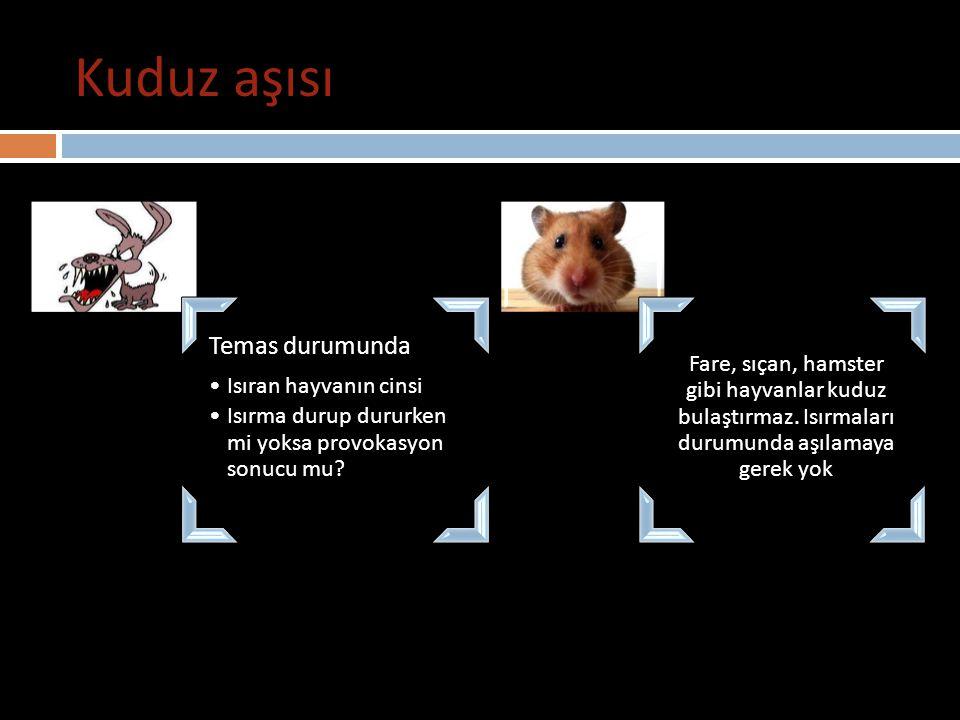 Kuduz aşısı Temas durumunda Isıran hayvanın cinsi