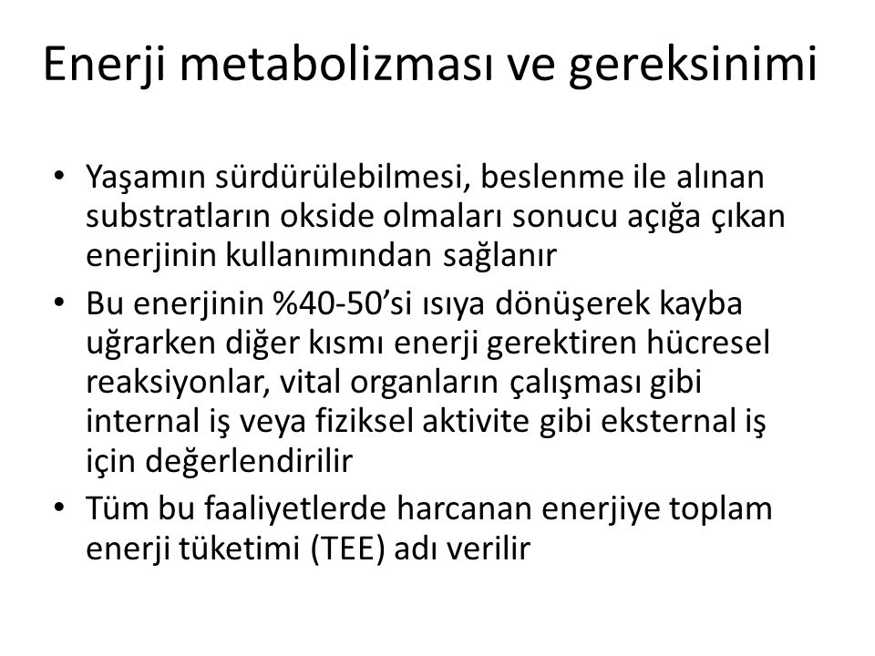 Enerji metabolizması ve gereksinimi