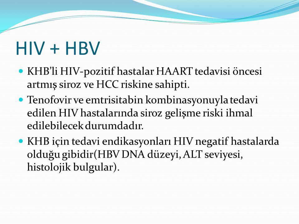 HIV + HBV KHB'li HIV-pozitif hastalar HAART tedavisi öncesi artmış siroz ve HCC riskine sahipti.