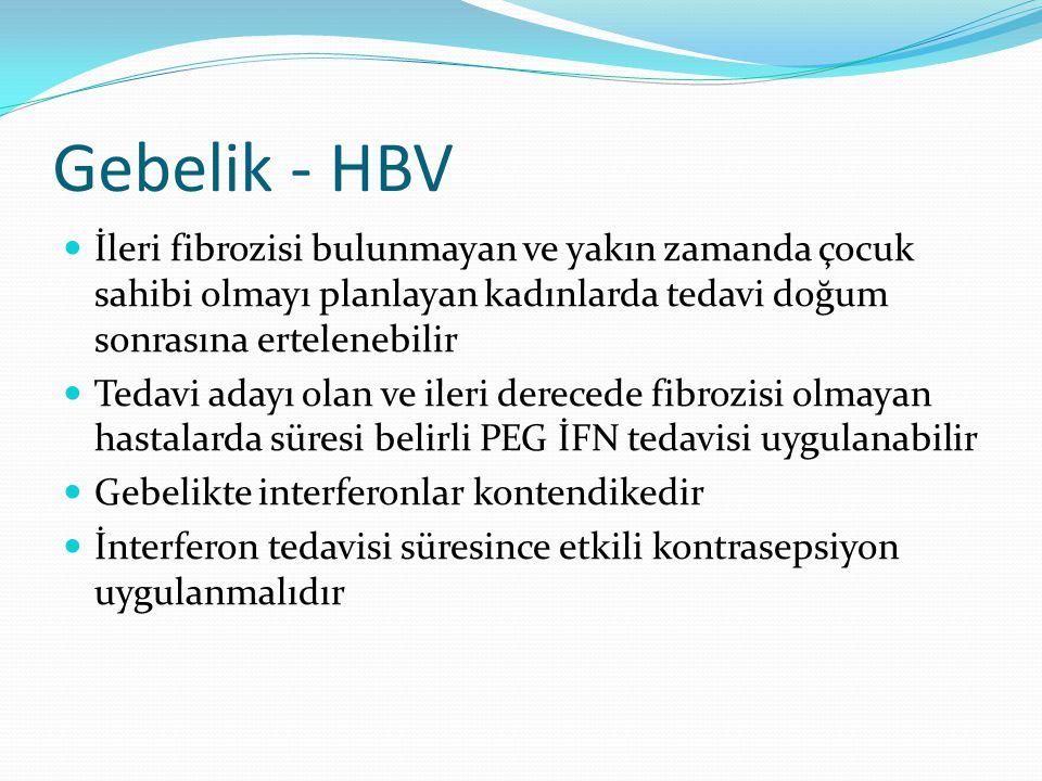 Gebelik - HBV İleri fibrozisi bulunmayan ve yakın zamanda çocuk sahibi olmayı planlayan kadınlarda tedavi doğum sonrasına ertelenebilir.