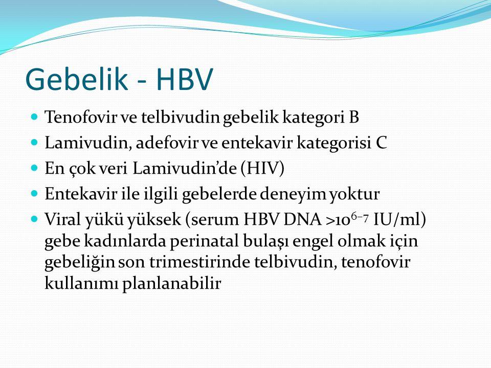 Gebelik - HBV Tenofovir ve telbivudin gebelik kategori B