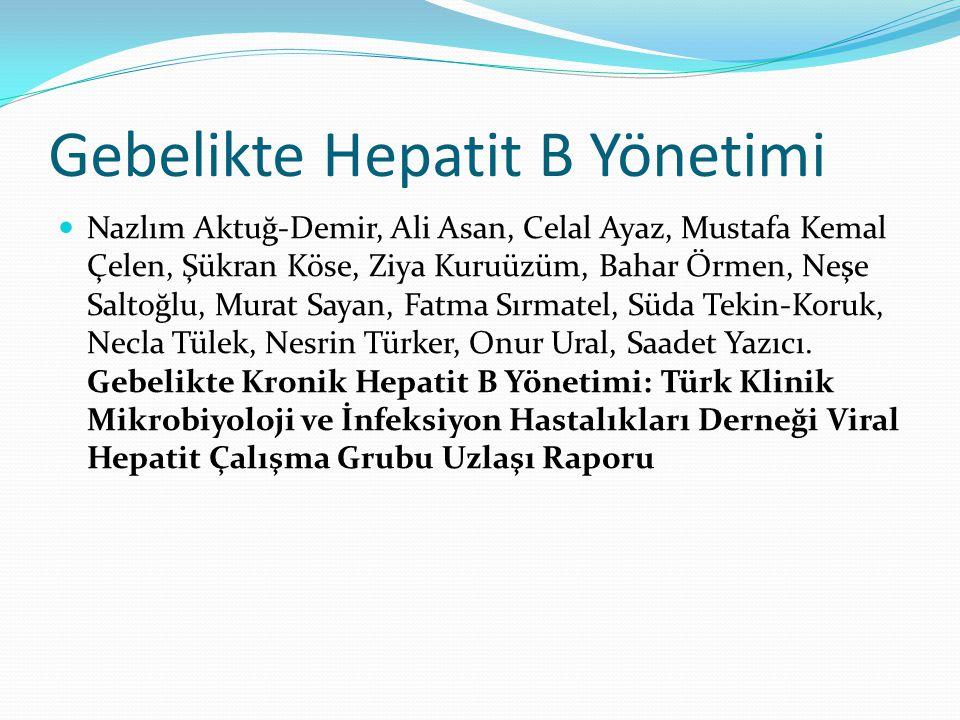Gebelikte Hepatit B Yönetimi
