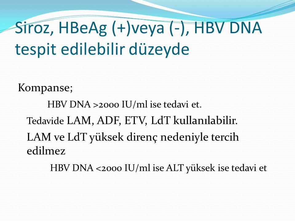 Siroz, HBeAg (+)veya (-), HBV DNA tespit edilebilir düzeyde