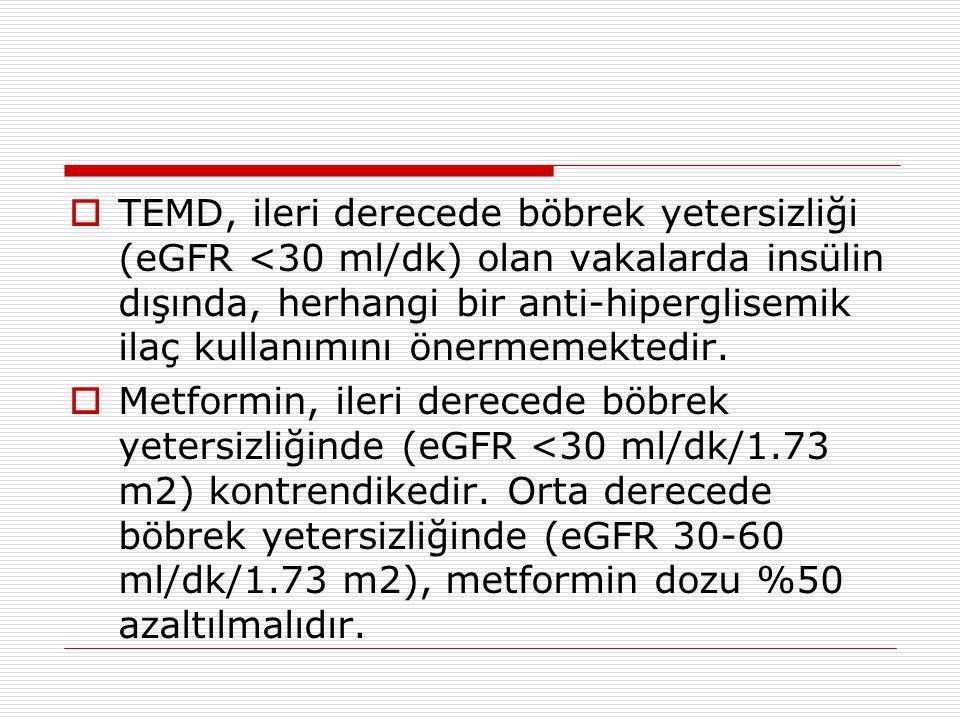 TEMD, ileri derecede böbrek yetersizliği (eGFR <30 ml/dk) olan vakalarda insülin dışında, herhangi bir anti-hiperglisemik ilaç kullanımını önermemektedir.