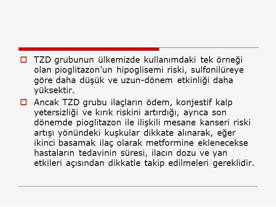 TZD grubunun ülkemizde kullanımdaki tek örneği olan pioglitazon'un hipoglisemi riski, sulfonilüreye göre daha düşük ve uzun-dönem etkinliği daha yüksektir.