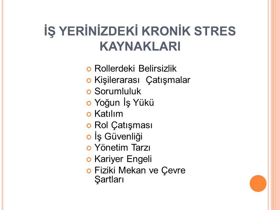 İŞ YERİNİZDEKİ KRONİK STRES KAYNAKLARI
