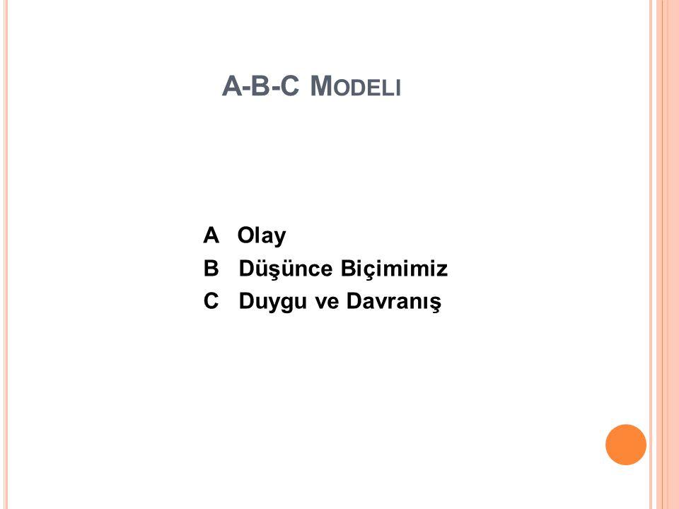 A-B-C Modeli A Olay B Düşünce Biçimimiz C Duygu ve Davranış