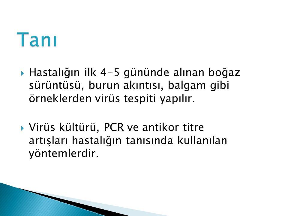 Tanı Hastalığın ilk 4-5 gününde alınan boğaz sürüntüsü, burun akıntısı, balgam gibi örneklerden virüs tespiti yapılır.