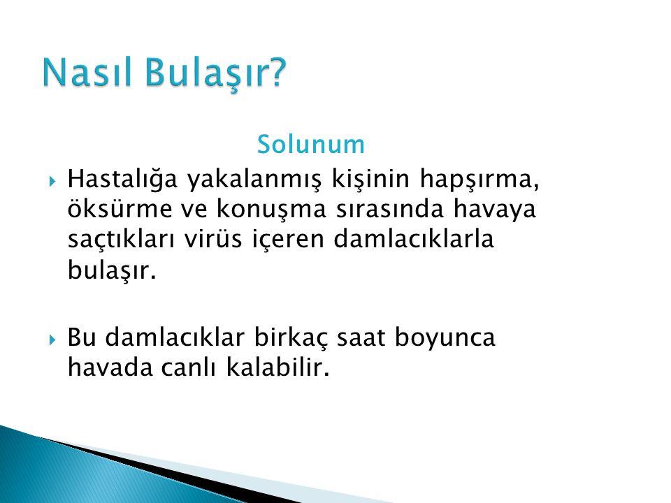 Nasıl Bulaşır Solunum. Hastalığa yakalanmış kişinin hapşırma, öksürme ve konuşma sırasında havaya saçtıkları virüs içeren damlacıklarla bulaşır.