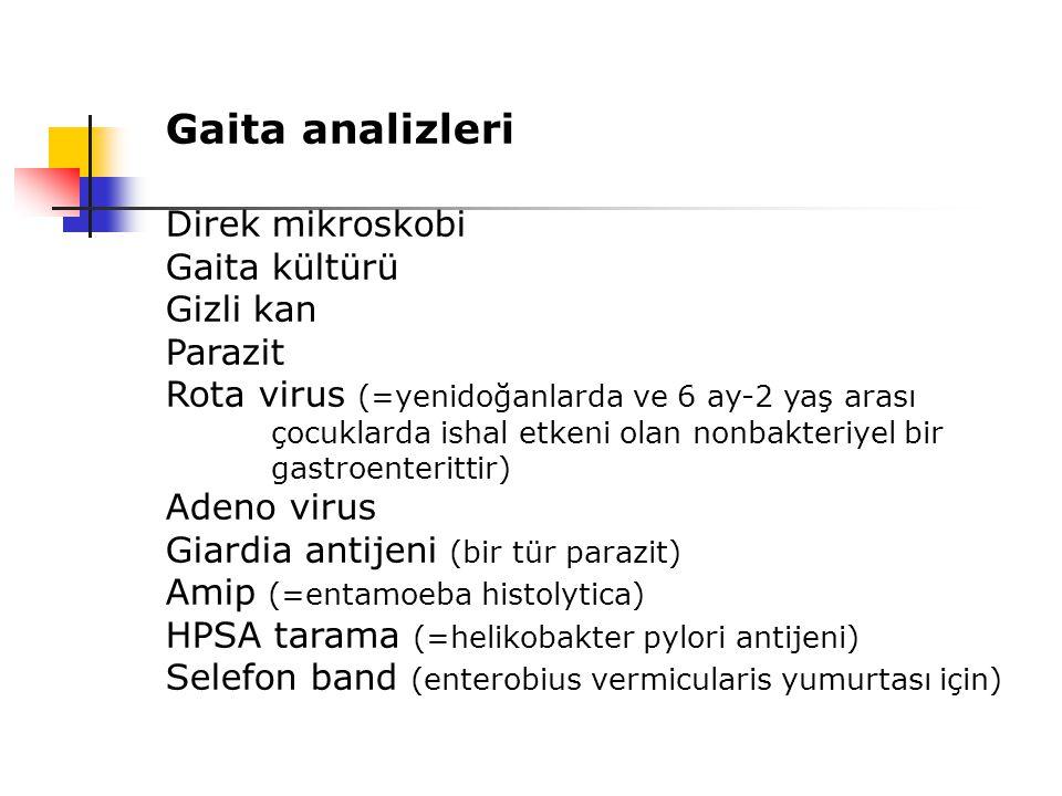 Gaita analizleri Direk mikroskobi Gaita kültürü Gizli kan Parazit