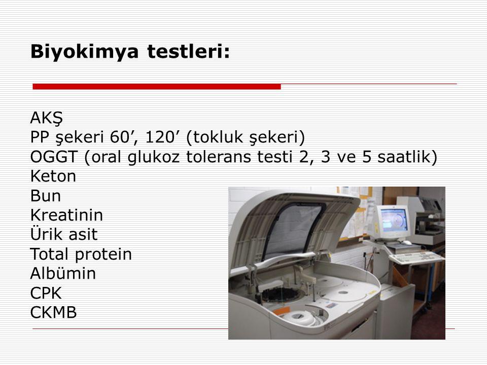 Biyokimya testleri: AKŞ PP şekeri 60', 120' (tokluk şekeri)