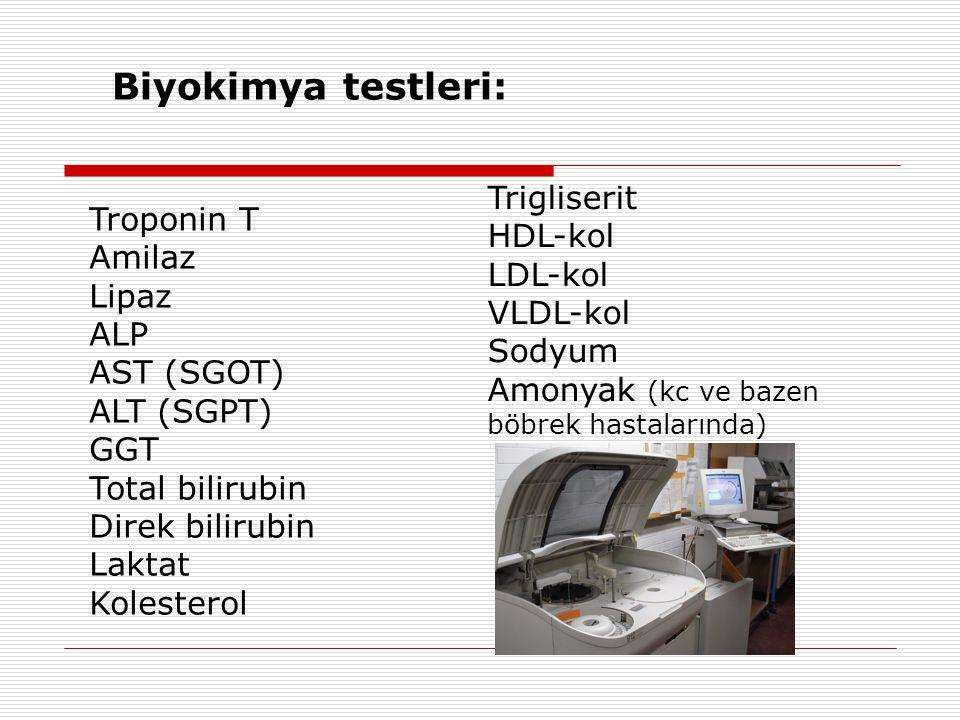 Biyokimya testleri: Trigliserit Troponin T HDL-kol Amilaz LDL-kol