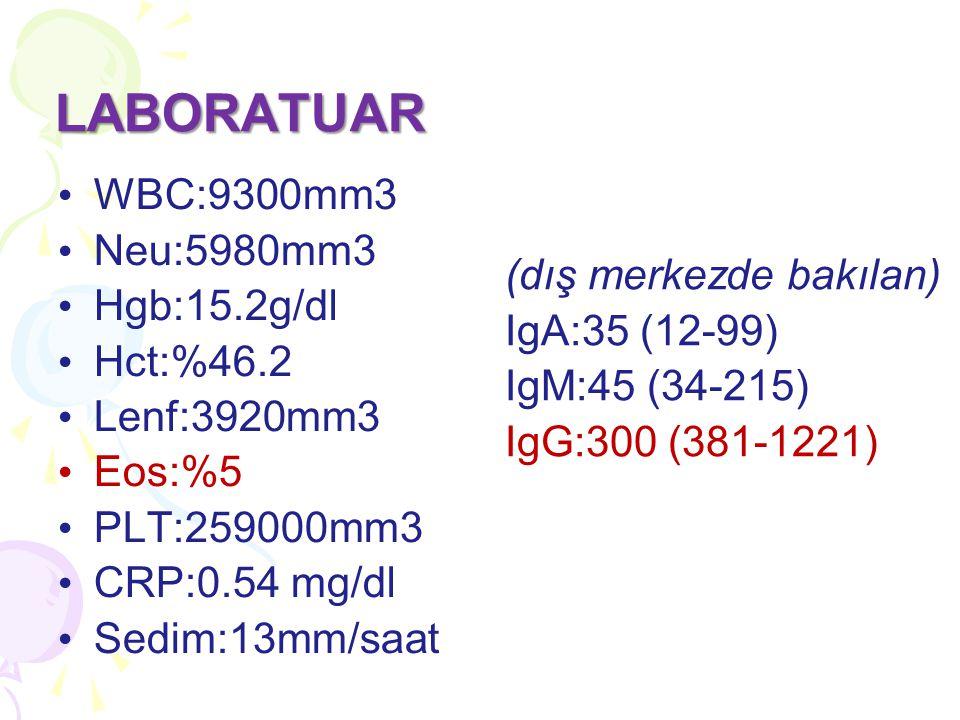 LABORATUAR WBC:9300mm3 Neu:5980mm3 Hgb:15.2g/dl Hct:%46.2