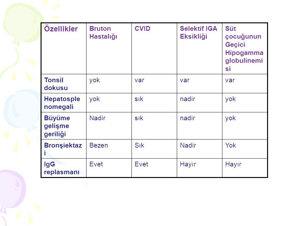 Özellikler Bruton Hastalığı CVID Selektif IGA Eksikliği