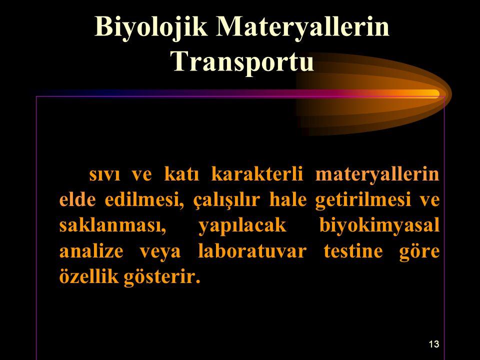 Biyolojik Materyallerin Transportu