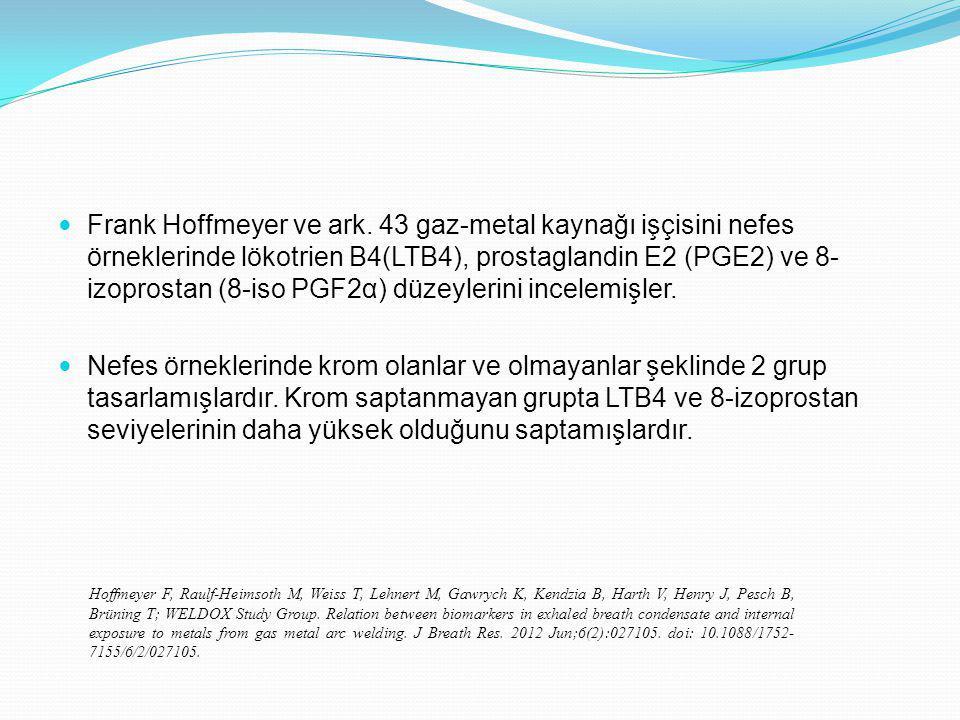 Frank Hoffmeyer ve ark. 43 gaz-metal kaynağı işçisini nefes örneklerinde lökotrien B4(LTB4), prostaglandin E2 (PGE2) ve 8-izoprostan (8-iso PGF2α) düzeylerini incelemişler.