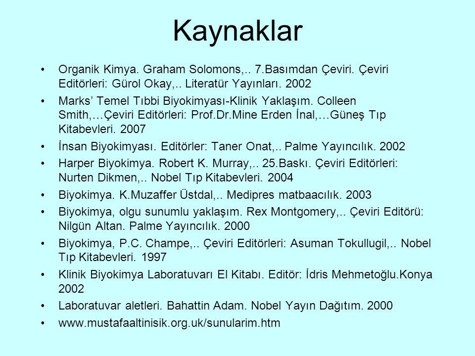 Kaynaklar Organik Kimya. Graham Solomons,.. 7.Basımdan Çeviri. Çeviri Editörleri: Gürol Okay,.. Literatür Yayınları. 2002.