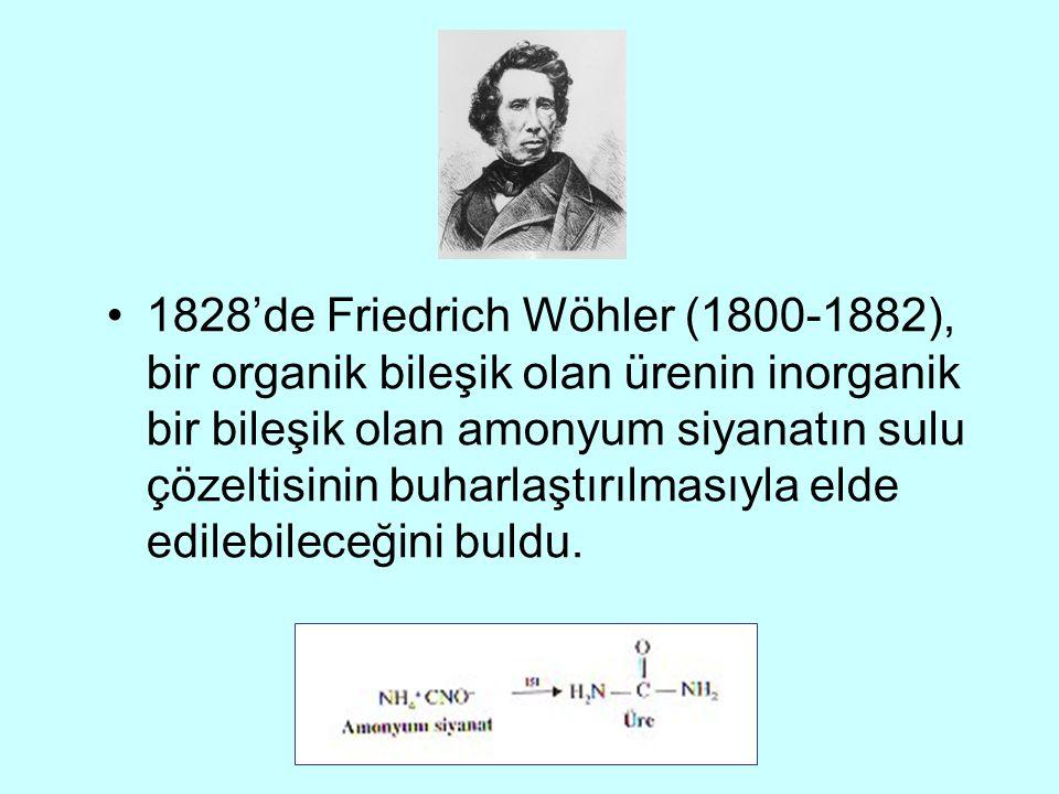 1828'de Friedrich Wöhler (1800-1882), bir organik bileşik olan ürenin inorganik bir bileşik olan amonyum siyanatın sulu çözeltisinin buharlaştırılmasıyla elde edilebileceğini buldu.