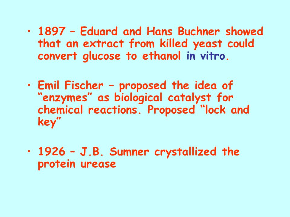 1897 – Eduard and Hans Buchner showed that an extract from killed yeast could convert glucose to ethanol in vitro.