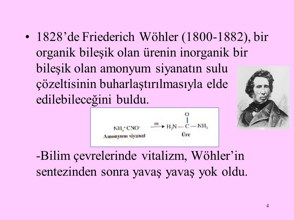 1828'de Friederich Wöhler (1800-1882), bir organik bileşik olan ürenin inorganik bir bileşik olan amonyum siyanatın sulu çözeltisinin buharlaştırılmasıyla elde edilebileceğini buldu.