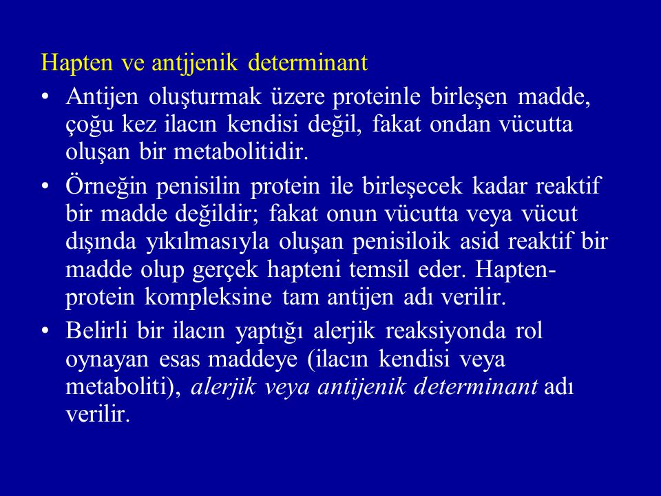 Hapten ve antjjenik determinant
