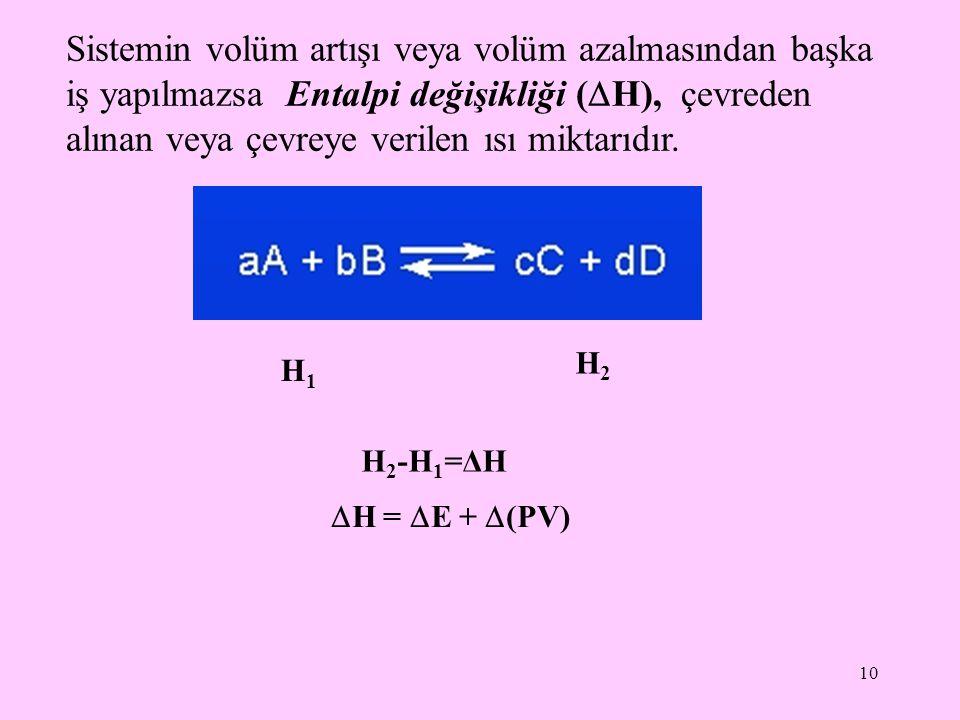Sistemin volüm artışı veya volüm azalmasından başka iş yapılmazsa Entalpi değişikliği (H), çevreden alınan veya çevreye verilen ısı miktarıdır.