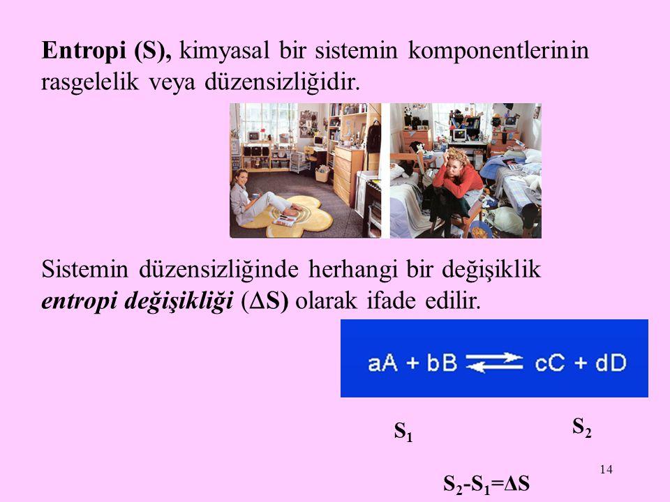 Entropi (S), kimyasal bir sistemin komponentlerinin rasgelelik veya düzensizliğidir.