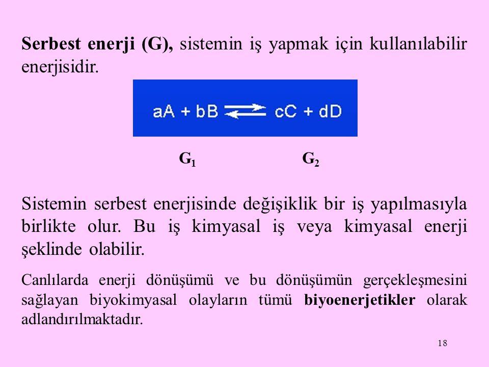 Serbest enerji (G), sistemin iş yapmak için kullanılabilir enerjisidir.