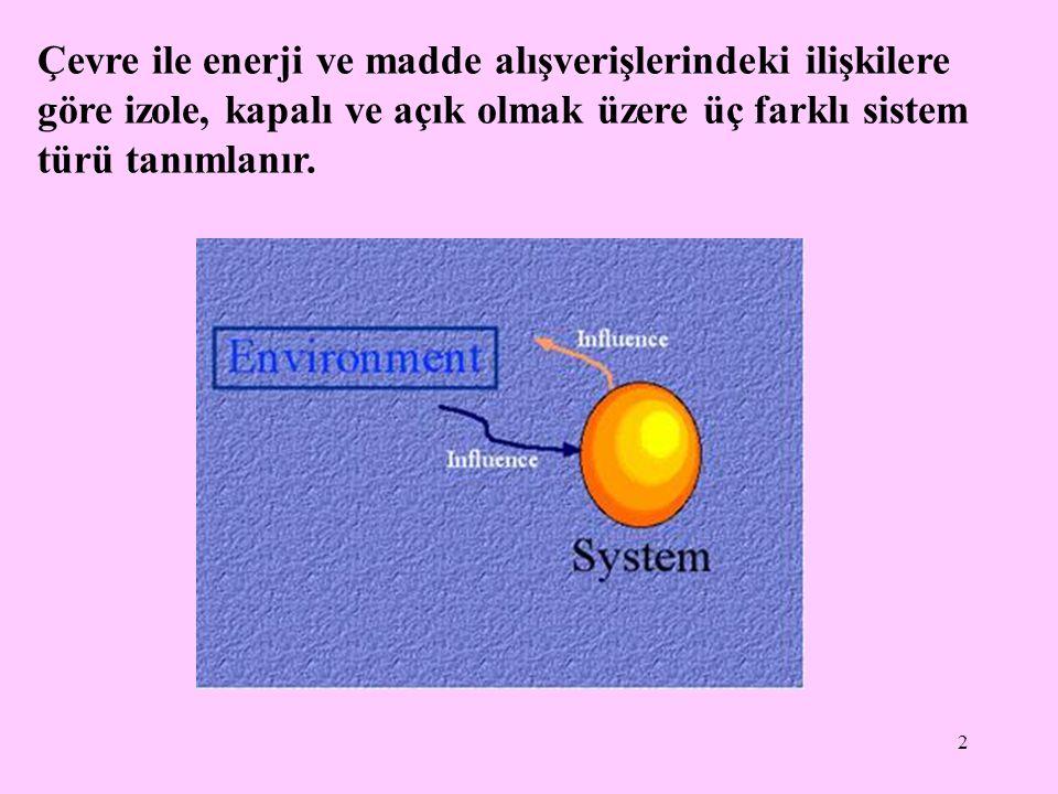Çevre ile enerji ve madde alışverişlerindeki ilişkilere göre izole, kapalı ve açık olmak üzere üç farklı sistem türü tanımlanır.