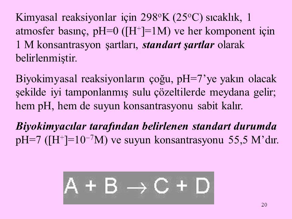 Kimyasal reaksiyonlar için 298oK (25oC) sıcaklık, 1 atmosfer basınç, pH=0 (H+=1M) ve her komponent için 1 M konsantrasyon şartları, standart şartlar olarak belirlenmiştir.