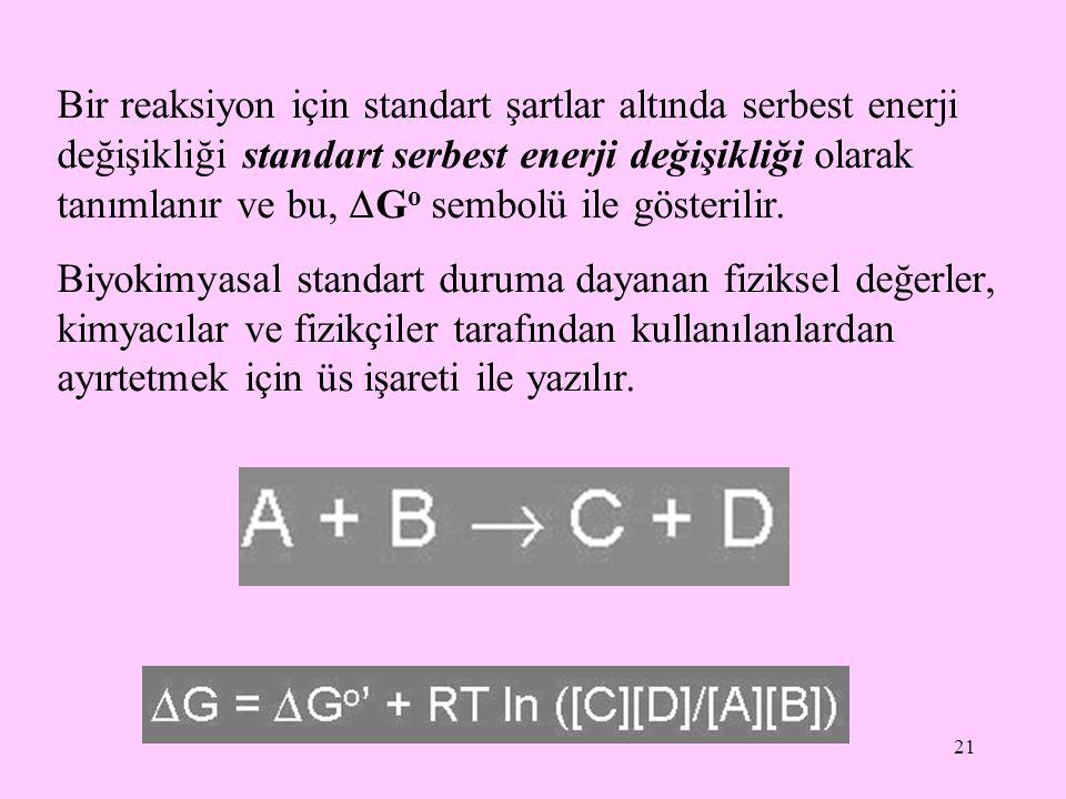 Bir reaksiyon için standart şartlar altında serbest enerji değişikliği standart serbest enerji değişikliği olarak tanımlanır ve bu, Go sembolü ile gösterilir.