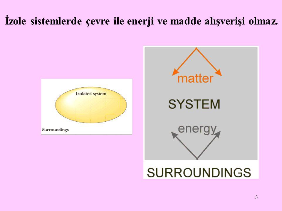 İzole sistemlerde çevre ile enerji ve madde alışverişi olmaz.