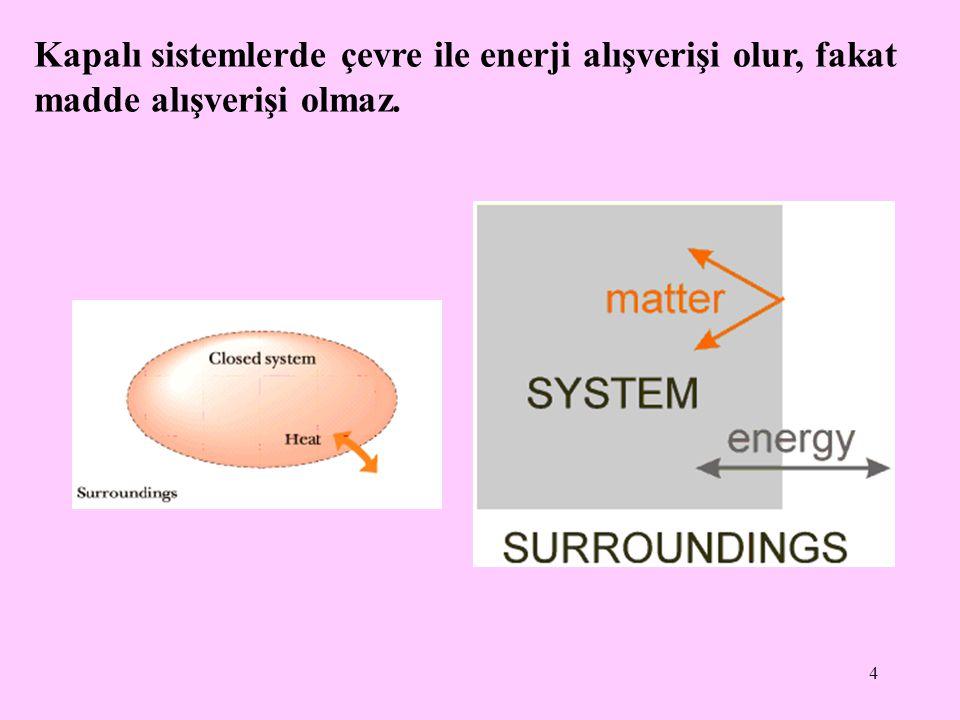 Kapalı sistemlerde çevre ile enerji alışverişi olur, fakat madde alışverişi olmaz.