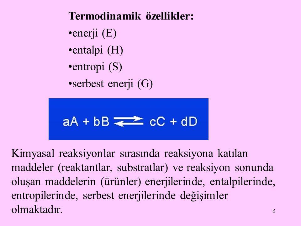 Termodinamik özellikler: