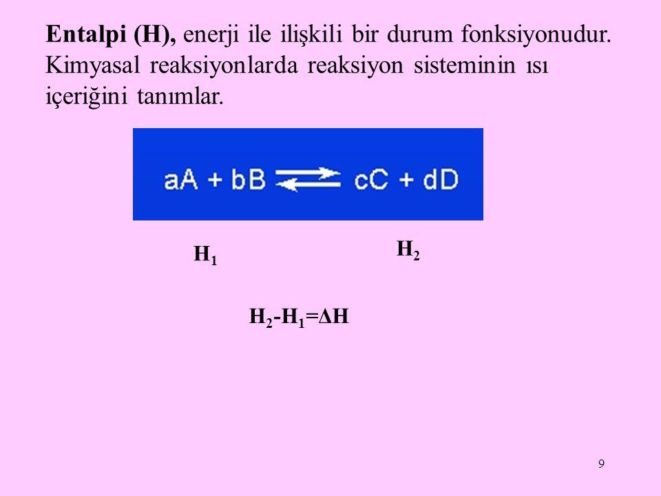 Entalpi (H), enerji ile ilişkili bir durum fonksiyonudur