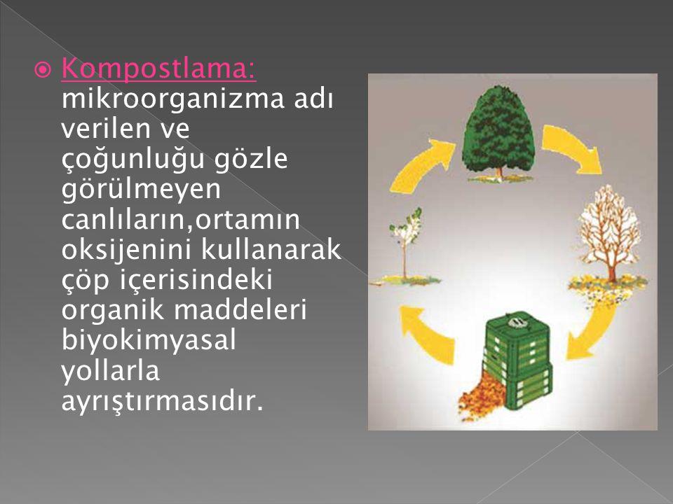 Kompostlama: mikroorganizma adı verilen ve çoğunluğu gözle görülmeyen canlıların,ortamın oksijenini kullanarak çöp içerisindeki organik maddeleri biyokimyasal yollarla ayrıştırmasıdır.