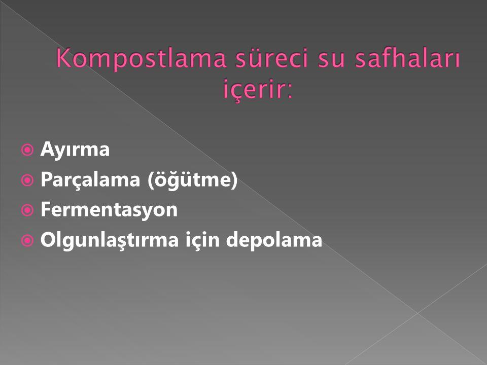Kompostlama süreci su safhaları içerir: