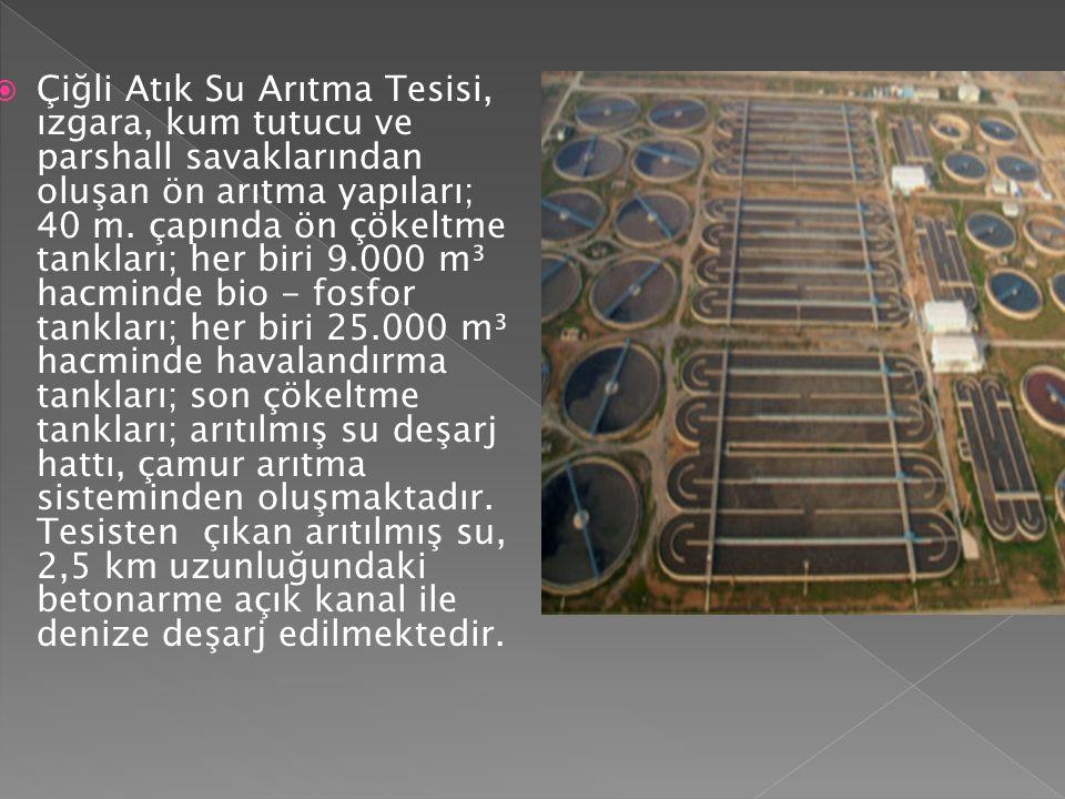 Çiğli Atık Su Arıtma Tesisi, ızgara, kum tutucu ve parshall savaklarından oluşan ön arıtma yapıları; 40 m.