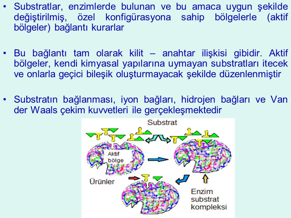 Substratlar, enzimlerde bulunan ve bu amaca uygun şekilde değiştirilmiş, özel konfigürasyona sahip bölgelerle (aktif bölgeler) bağlantı kurarlar