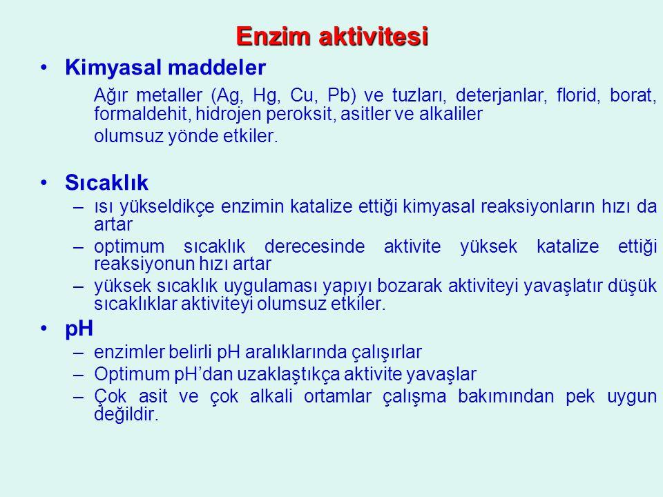 Enzim aktivitesi Kimyasal maddeler