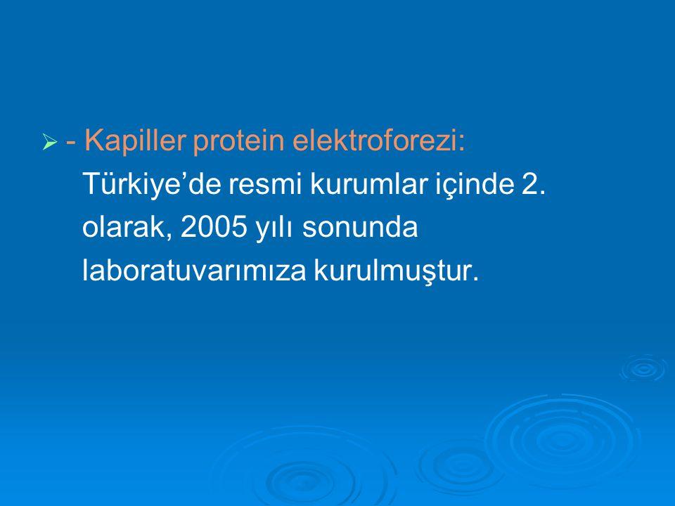 - Kapiller protein elektroforezi: