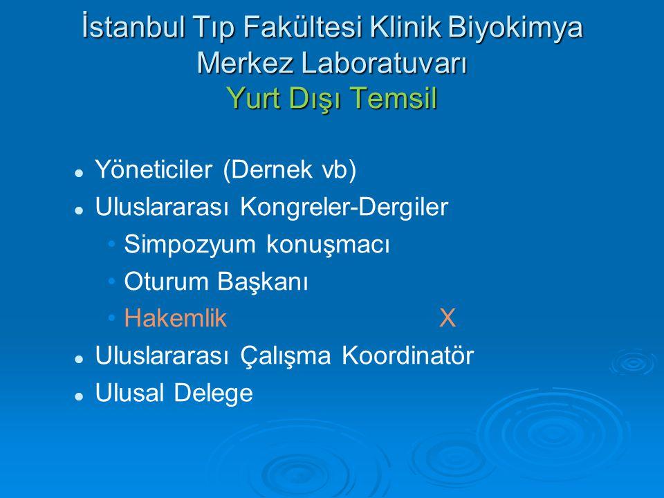 İstanbul Tıp Fakültesi Klinik Biyokimya Merkez Laboratuvarı Yurt Dışı Temsil