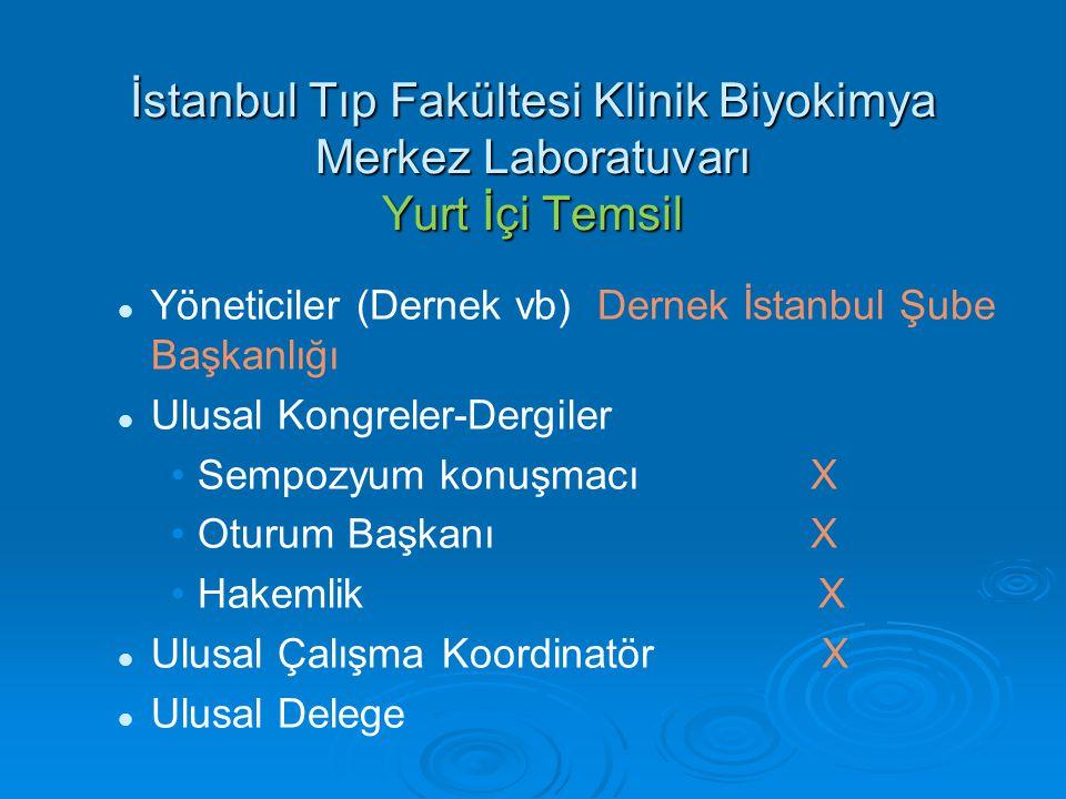 İstanbul Tıp Fakültesi Klinik Biyokimya Merkez Laboratuvarı Yurt İçi Temsil