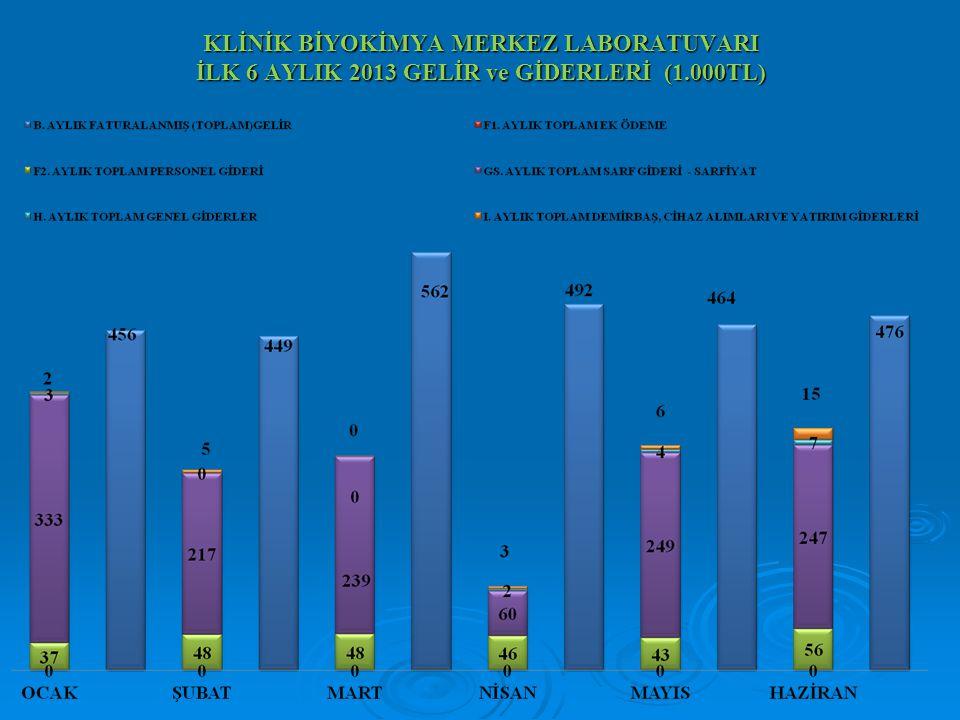 KLİNİK BİYOKİMYA MERKEZ LABORATUVARI İLK 6 AYLIK 2013 GELİR ve GİDERLERİ (1.000TL)