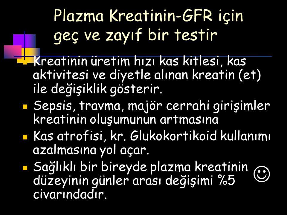 Plazma Kreatinin-GFR için geç ve zayıf bir testir